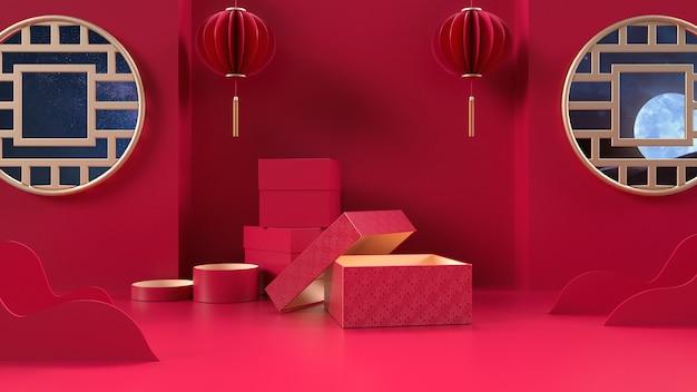 Renderização cinema 4d de fundo vermelho com caixa de presente em estilo chinês