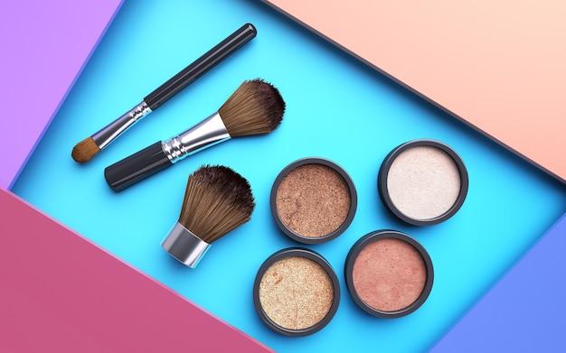 Renderização cinema 4d do kit de maquiagem