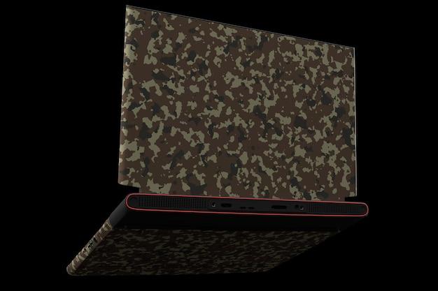 Renderização d de um laptop de jogos moderno com luzes rgb isoladas em preto