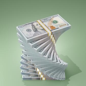 Renderização da ilustração 3d da pilha de notas de 100 dólares em um fundo verde.