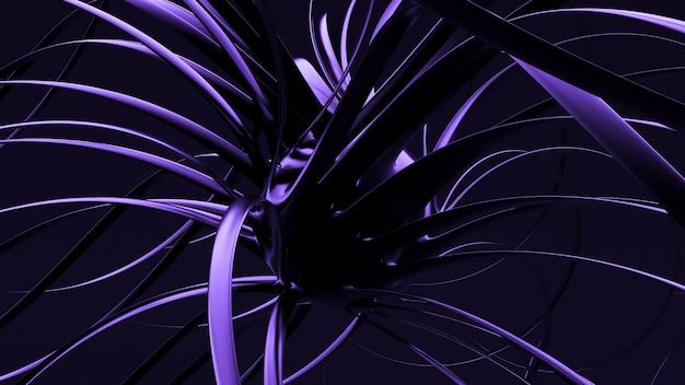 Renderização da ilustração 3d do fundo da forma roxa preta