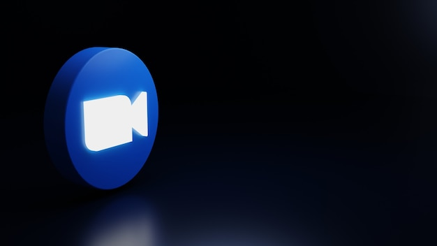 Renderização de alta qualidade do ícone do logotipo com zoom 3d