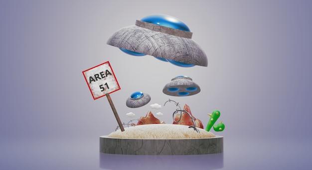 Renderização de área ufo 3d