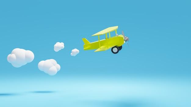Renderização de avião amarelo voar com nuvem.