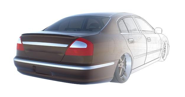 Renderização de carro sedan marrom de luxo da base técnica da renderização 3d do modelo