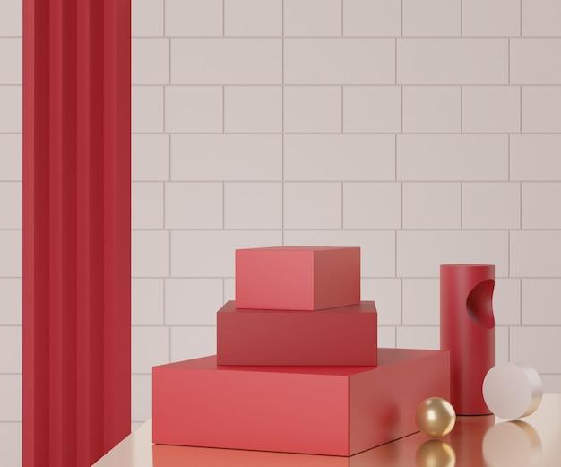 Renderização de cena de pódio vazia mínima com formas geométricas para apresentação de produtos