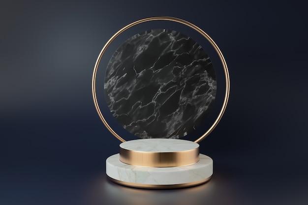 Renderização de cinema de abstrato geométrico preto com linhas douradas para maquete de exibição