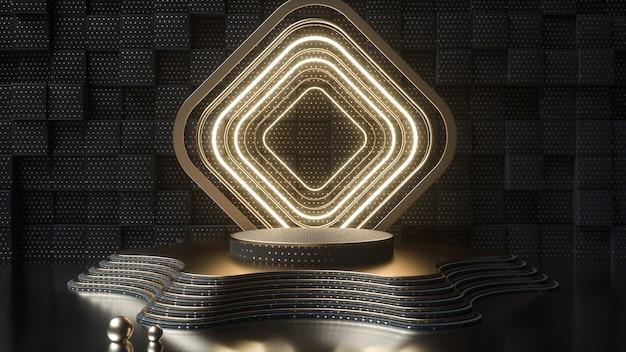 Renderização de cinema de plataforma abstrata escura com retângulos de néon para maquete de exibição