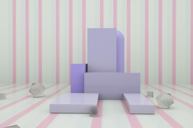 Renderização de cinema de plataforma geométrica abstrata para exibição de maquete