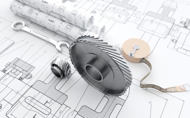 Renderização de cinema de um abstrato com a escolha de equipamentos para planos de construção de edifícios