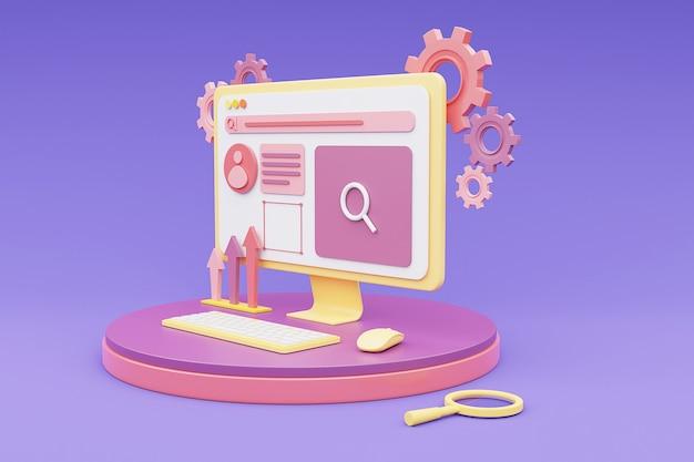 Renderização de concept.3d de design de web de computador.