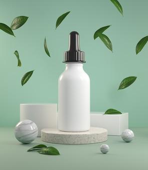 Renderização de embalagens de cosméticos de beleza hidratante no pódio com folhas caindo e bola de mármore