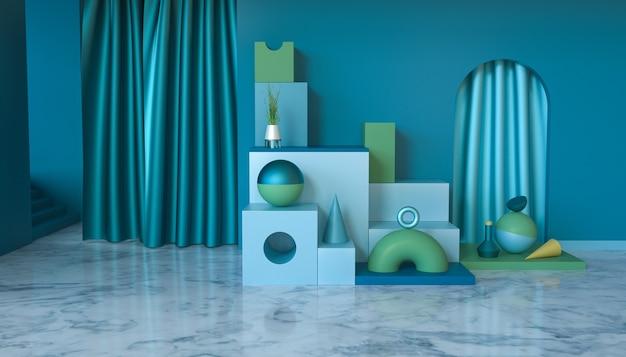 Renderização de estágio de forma geométrica abstrata com cortina para produto de estande