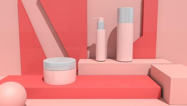 Renderização de forma geométrica abstrata com produto cosmético para exibição