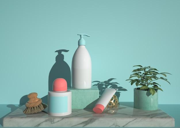 Renderização de forma geométrica abstrata com produto cosmético para produto de exibição