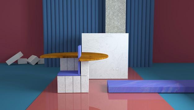 Renderização de forma geométrica abstrata para produto de estande