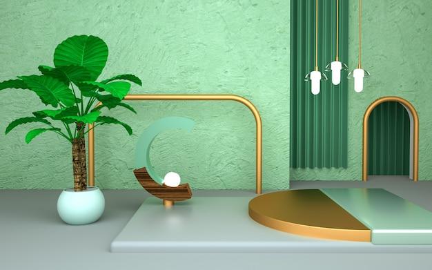 Renderização de forma geométrica com conceito natural para produto de estande
