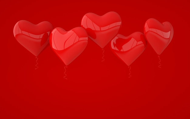 Renderização de formato de coração de balões vermelhos brilhantes brilhantes