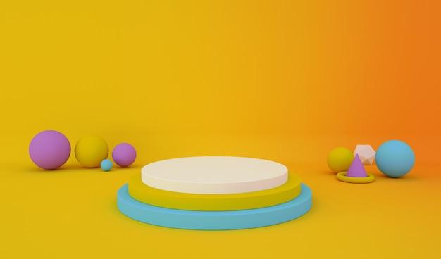 Renderização de fundo amarelo abstrato com pedestal circular para produto de estande