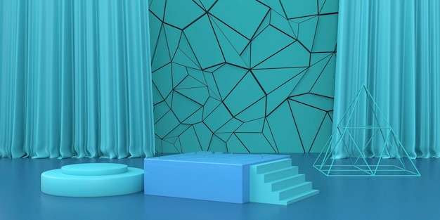Renderização de fundo de forma abstrata com pódio para produto de estande
