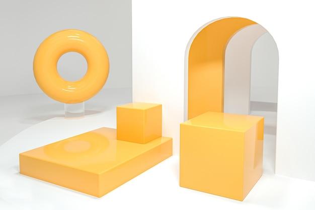 Renderização de fundo de forma geométrica abstrata para produto de exibição