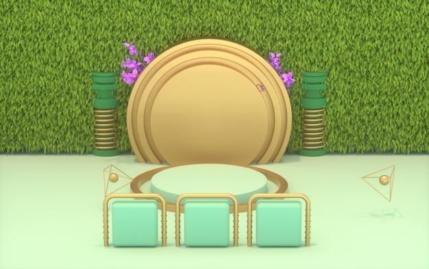 Renderização de fundo de forma geométrica com parede verde e pedestal para exibir o produto