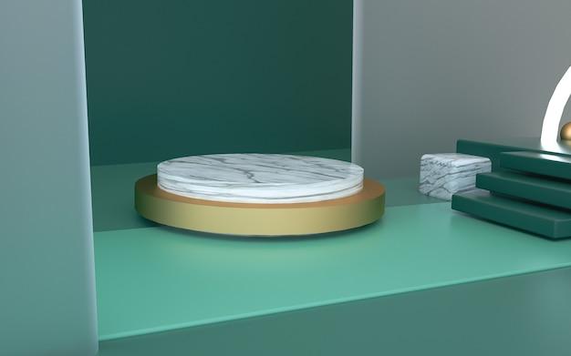 Renderização de fundo de forma geométrica com pedestal circular para produto de estande