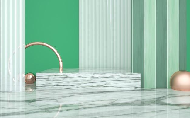 Renderização de fundo de forma geométrica com pedestal de mármore para produto de suporte