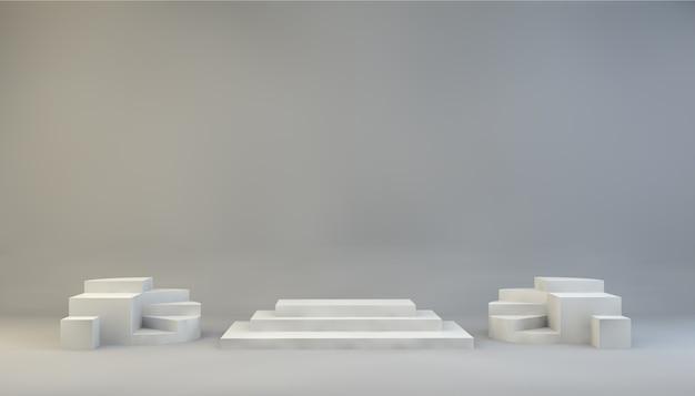 Renderização de fundo de forma geométrica com pedestal