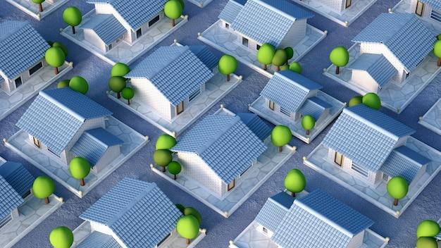 Renderização de ilustração 3d de vila de chalé