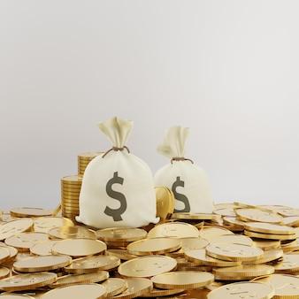 Renderização de ilustração 3d. dois sacos de dinheiro com muitas moedas de ouro no chão. conceito de negócio financeiro.