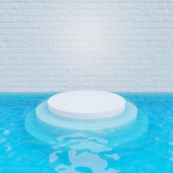 Renderização de ilustração 3d. parede de tijolo branco com pódio de degrau branco no fundo de água azul. imagem para apresentação.