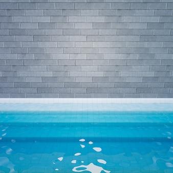 Renderização de ilustração 3d. parede de tijolo cinza com piso em degraus branco e fundo de água azul. imagem para apresentação.