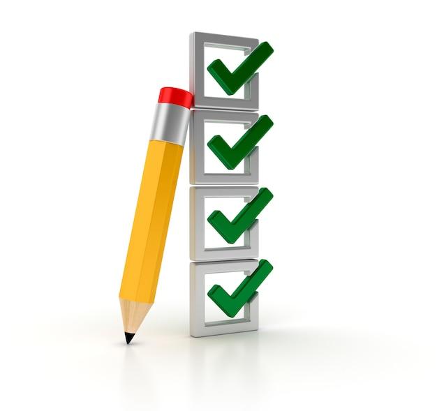 Renderização de ilustração da lista de verificação com lápis