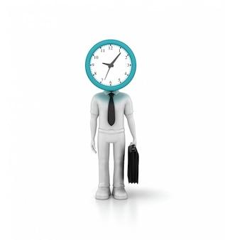 Renderização de ilustração da pessoa de negócios dos desenhos animados com relógio