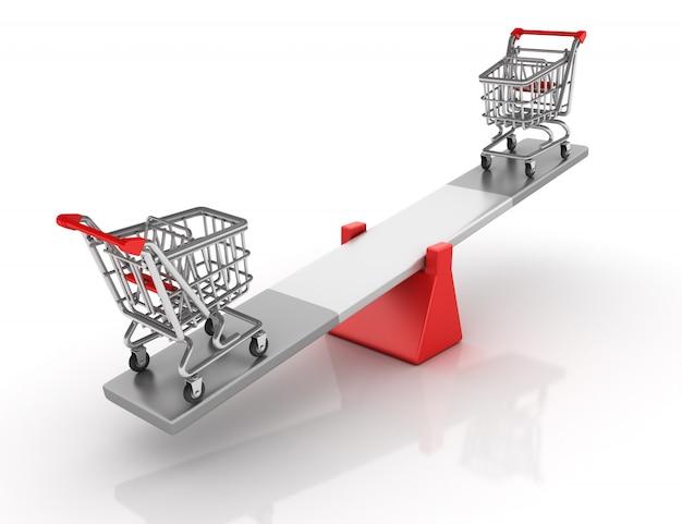 Renderização de ilustração de carrinho de compras, equilibrando em uma gangorra