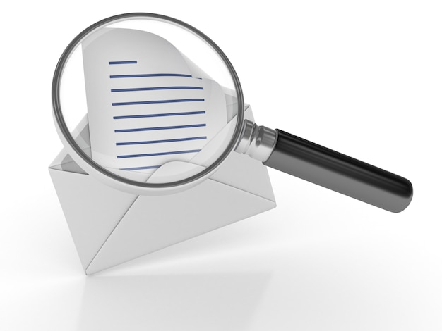 Renderização de ilustração de carta de envelope com lupa
