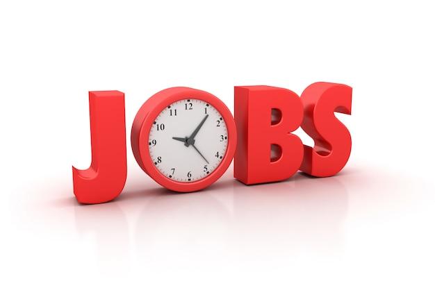 Renderização de ilustração de emprego palavra com relógio