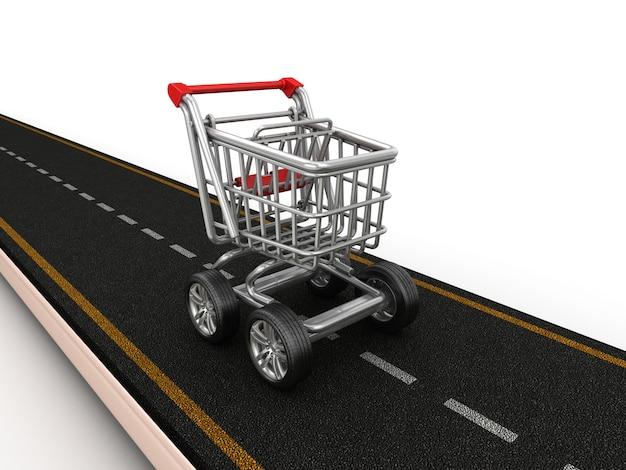 Renderização de ilustração de estrada com carrinho de compras sobre rodas