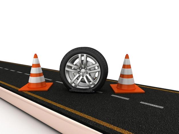 Renderização de ilustração de estrada com pneu furado e cones de trânsito