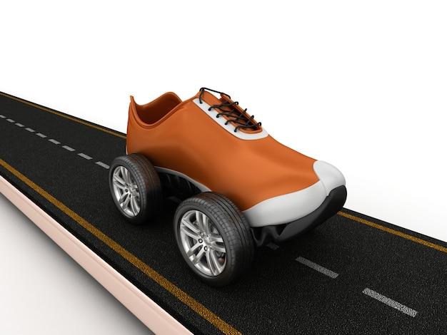 Renderização de ilustração de estrada com sapato sobre rodas