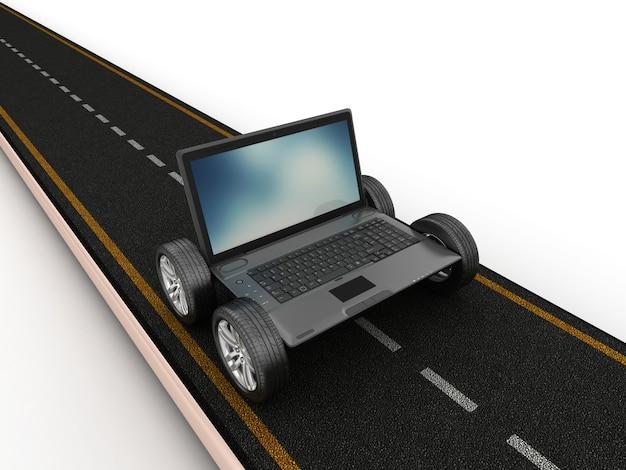 Renderização de ilustração de laptop com sapato sobre rodas