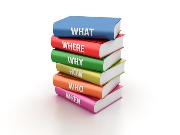 Renderização de ilustração de livros de perguntas