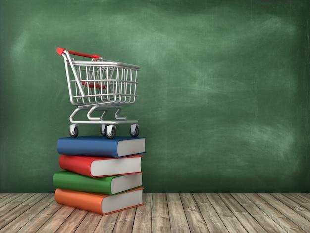 Renderização de ilustração de livros e carrinho de compras