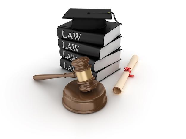 Renderização de ilustração de martelo jurídico com livros capelo e diploma