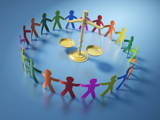 Renderização de ilustração de pessoas de pictograma de trabalho em equipe com balança da justiça
