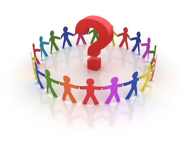 Renderização de ilustração de pessoas de pictograma trabalho em equipe com ponto de interrogação