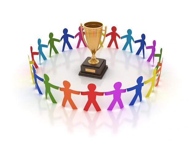 Renderização de ilustração de pessoas do trabalho em equipe com troféu