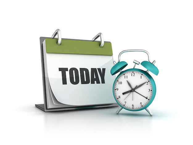 Renderização de ilustração de relógio com calendário de hoje