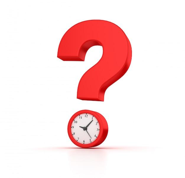 Renderização de ilustração de relógio com ponto de interrogação